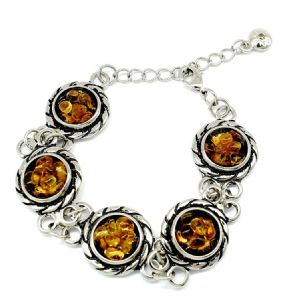 Vintage Amber Bracelet  - Unique Gift Idea for Christmas, Birthday, Mother Day